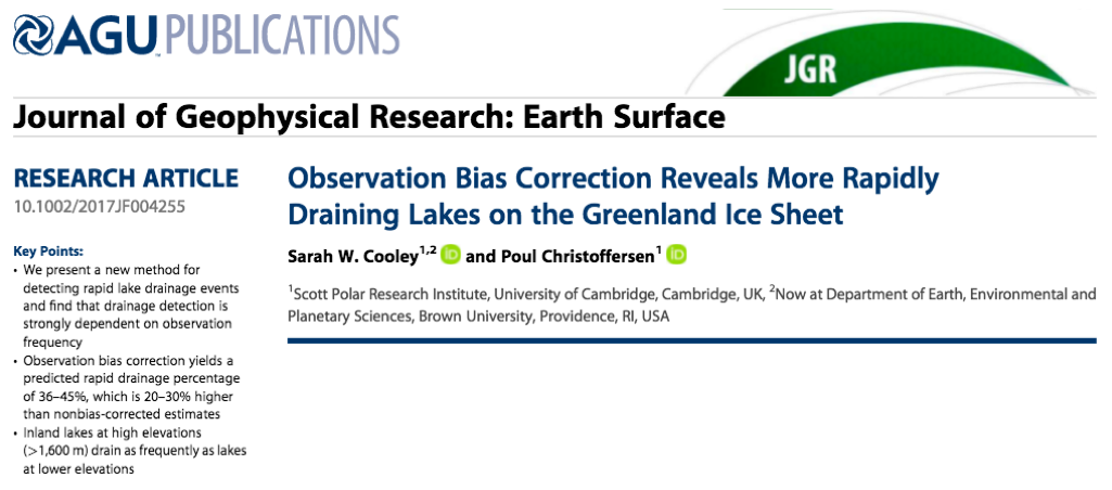 New paper on rapid lake drainage events in Greenland — Sarah W  Cooley