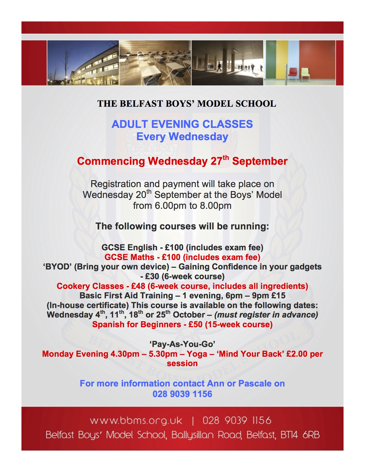 Adult Evening Classes — Belfast Boys' Model School