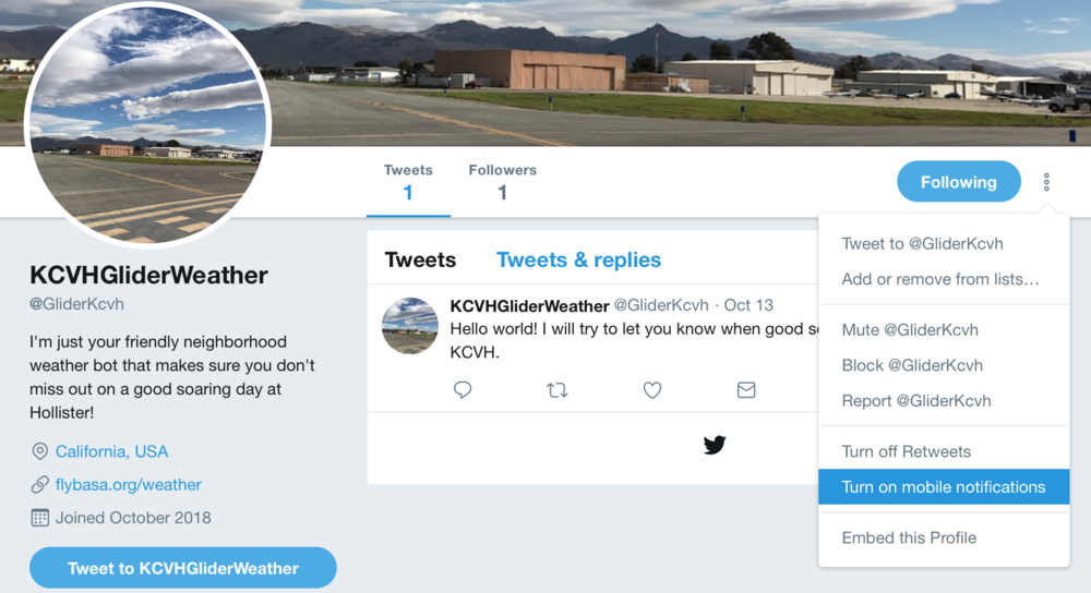 The Twitter page for the bot. It posts alerts and images here.
