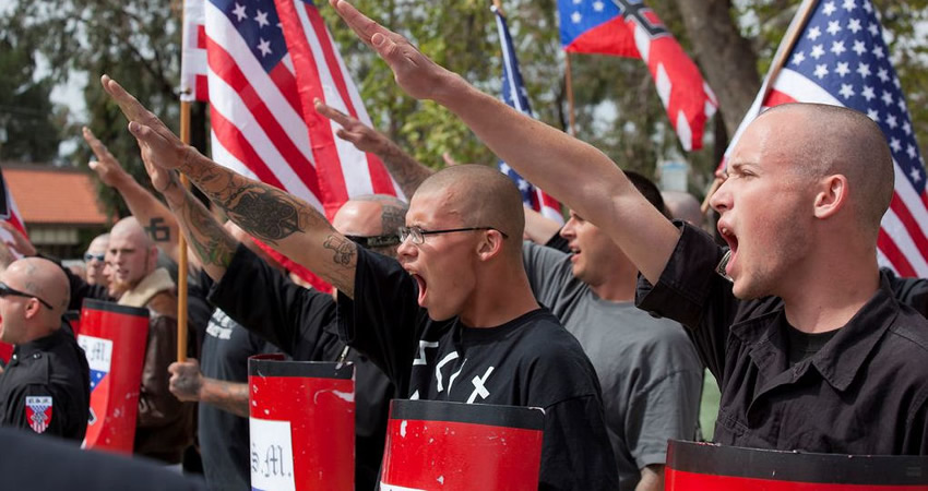 A neo-nazi group rallying in America. Photo courtesy of bytownpost.com