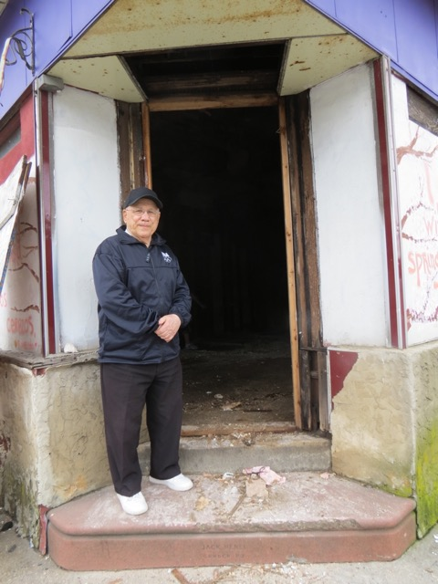 Tony Virgilio, Nick's Brother at the doorway of the NVHA Writers House as it is being restored and remodeled and Tony anticipates fulfilling his dream of a Writers House named after his brother, Nick.