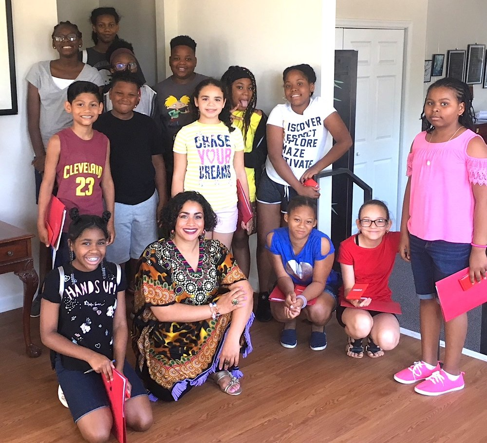 Camden Mighty Writers with Program Manager Vanessa Malave.