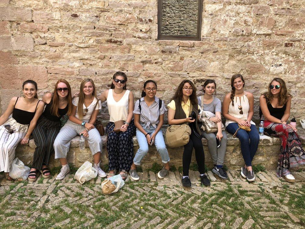 Students inside Rocca Maggiore