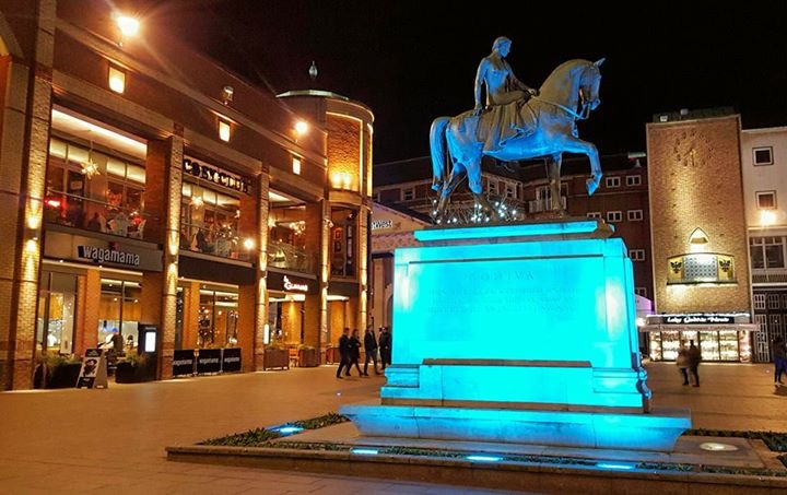 godiva statue broadgate coventry nightime