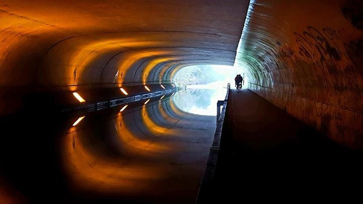 Re-imagining the culverted underground Sherbourne, dramatically illuminated - with a pedestrian walkway providing a fast track direct into the heart of the city.. (thx to Lisa Miller for this image - showing similar approach adopted at a Coventry Canal underpass, in Foleshill).