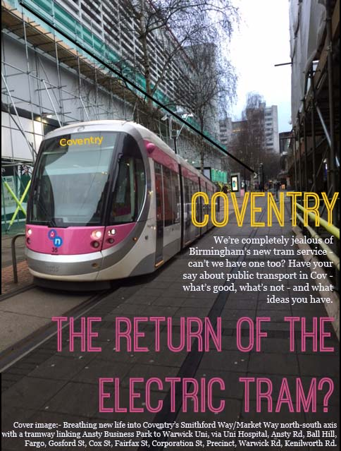 We had a little play with how brum-styled trams might make our N-S precinct feel more accesible - open, and 'street like'.