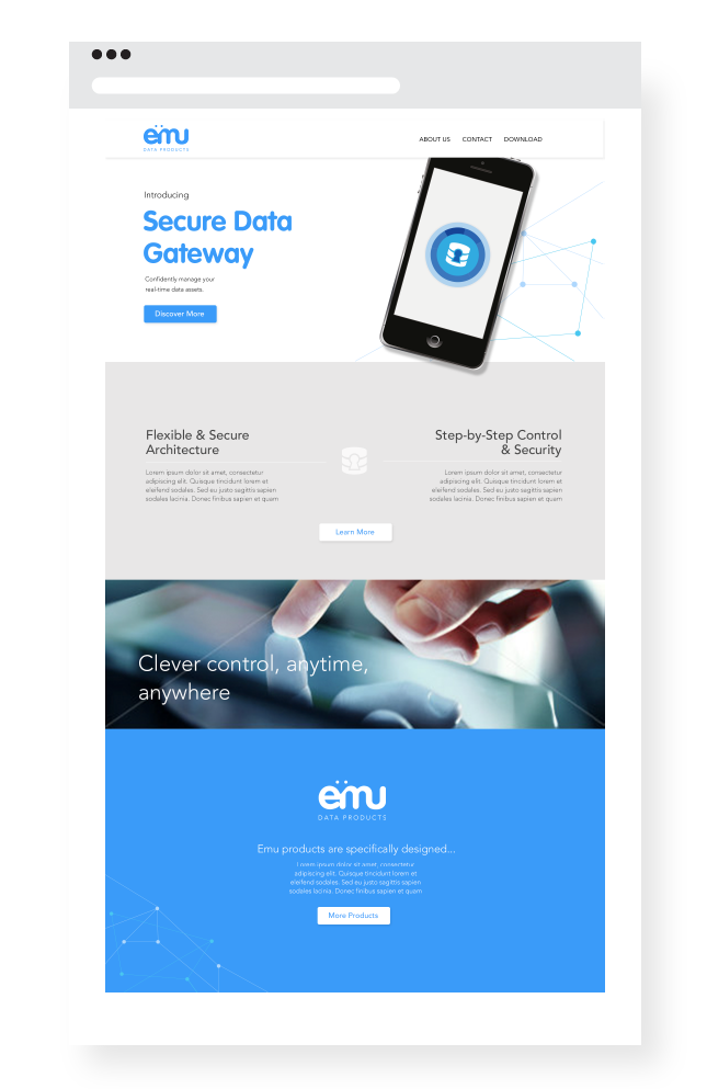 Wireframes and design for Emu Data Products