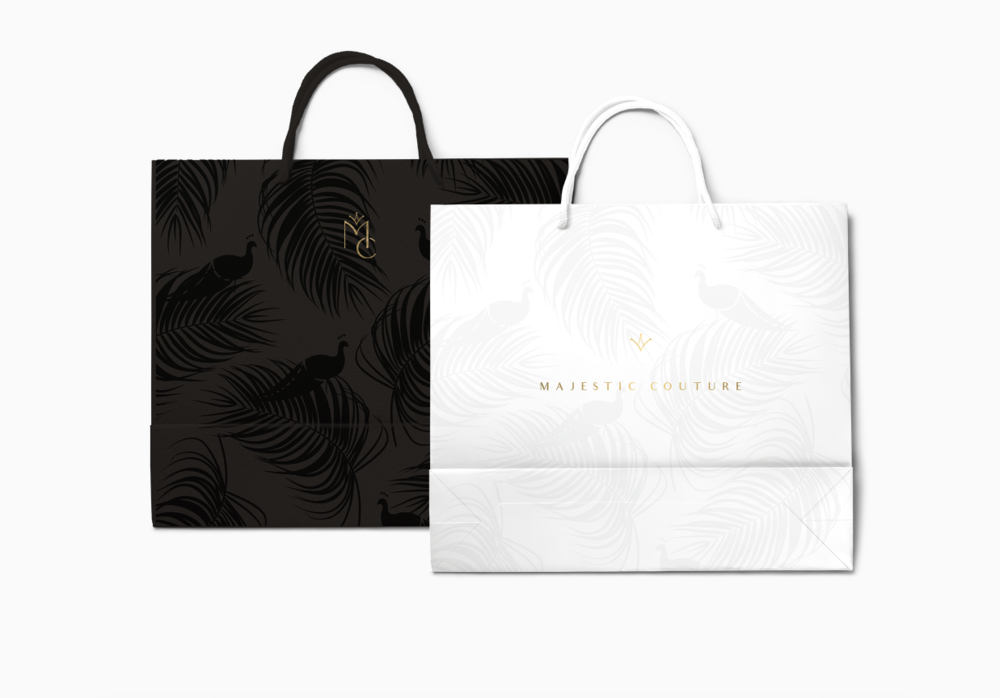 Back and white pattern shopping bags