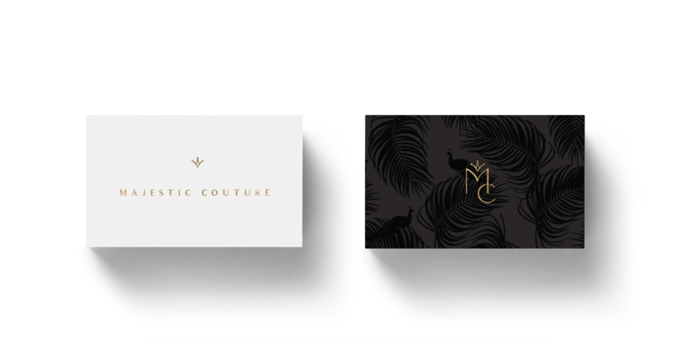 Majestic couture-black and white business cards