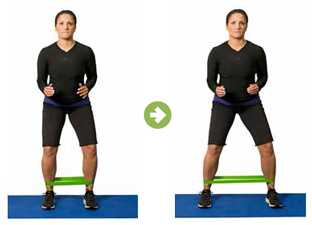 This exercise targets the gluteus medius muscle, a key muscle in keeping your pelvis stable. Can perform by walking sideways both directions, make sure not to sway your upper body and stay in a slightly squatted position.