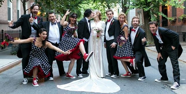 The Bridal Party Wore Black White Polka Dot Dresses With Red Accents And To Add Rock N Roll Theme Entire Wedding Converse