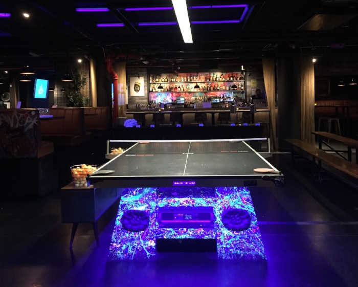 neon ping pong table spin ny