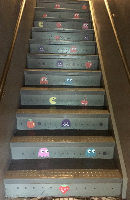 Pac Man decals on stairs.jpg
