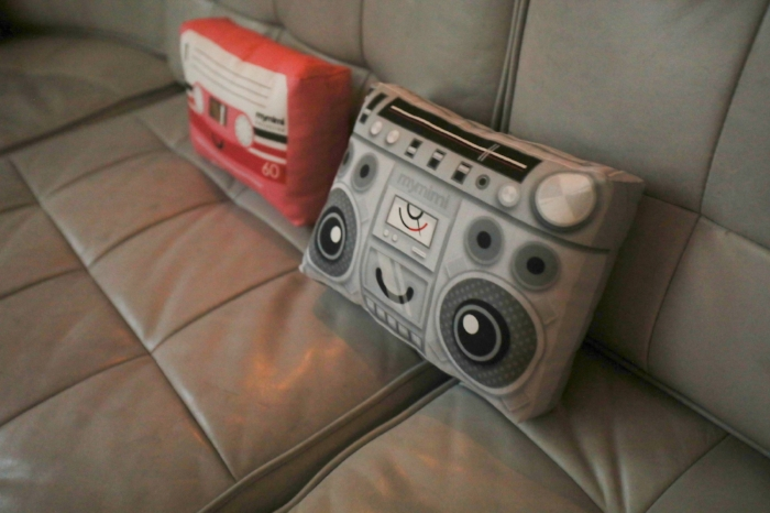 cassette tape and boom box pillow