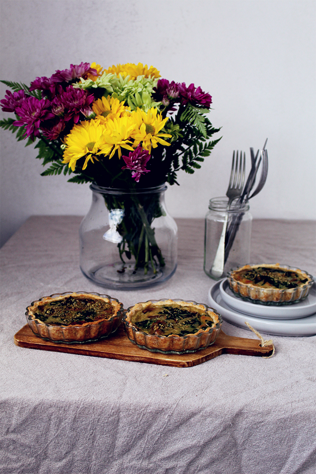 Mushrooms spinach quiches