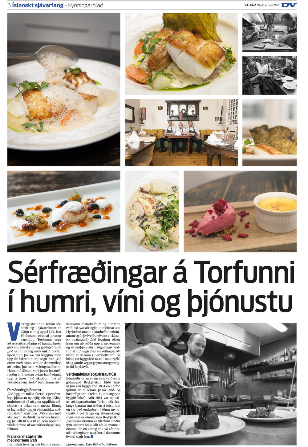 Torfan Restaurant for DV Food Magazine
