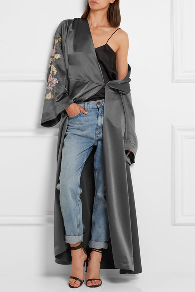 Embroidered satin jacket
