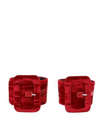 Red velvet ankle-cuffs