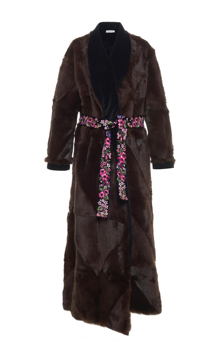 Veruschka Long Rabbit Fur And Velvet Coat