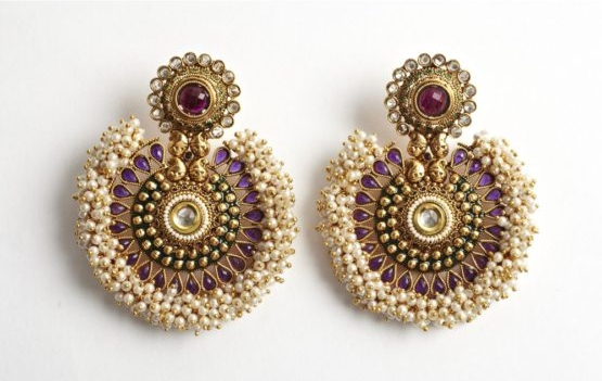 Large Tanushri Earrings in Purple