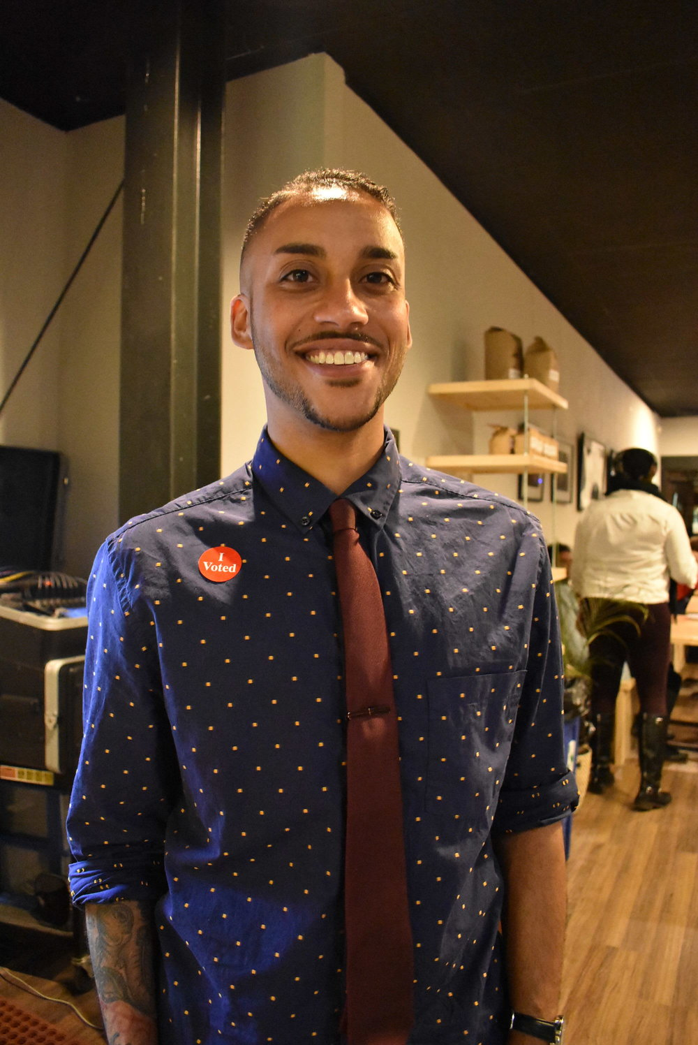 Ward 4 Council Member-elect Phillipe Cunningham poses at his election night party at Corner Coffee Camden.  Photo by Cirien Saadeh