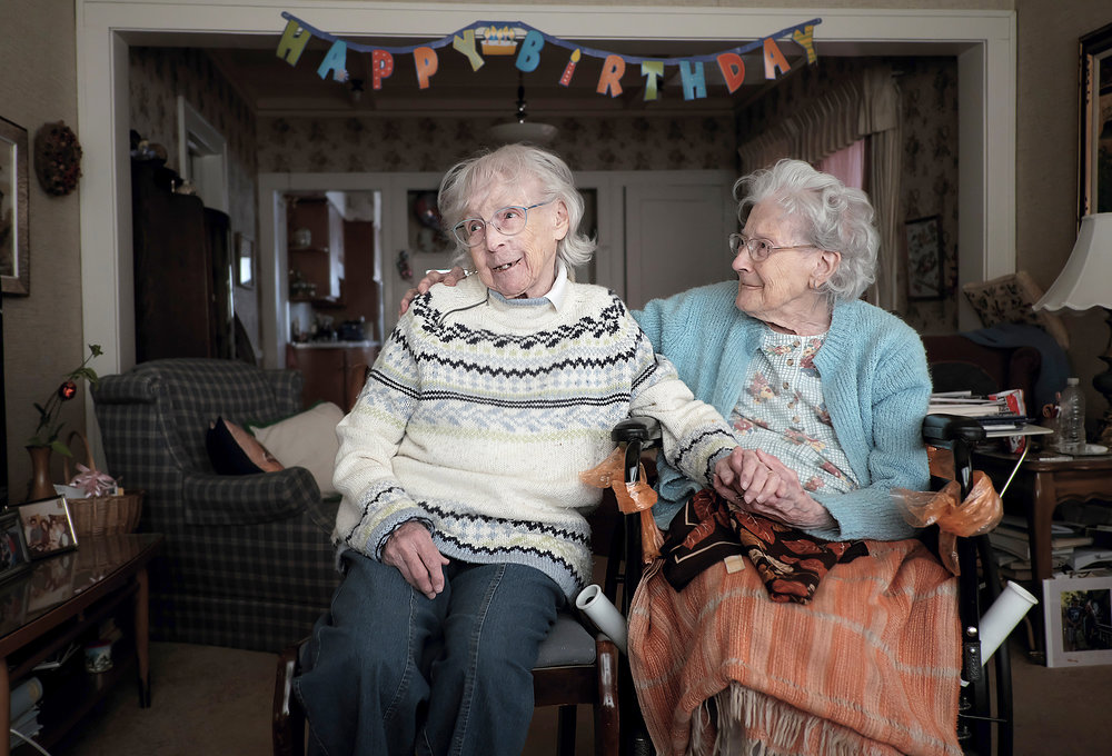 Florence Timmerman (left), 100, and her sister Jessie Johnson, 104,  live together in Folwell.