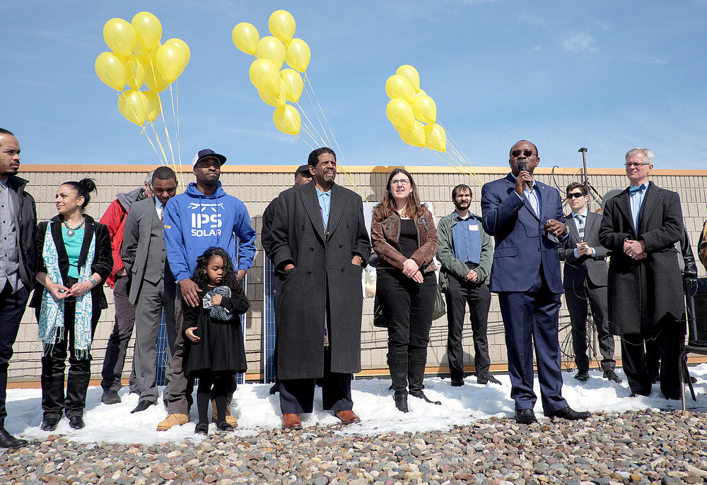 Community leaders celebrate the March groundbreaking of a solar garden at Shiloh Temple.  Photo by David Pierini