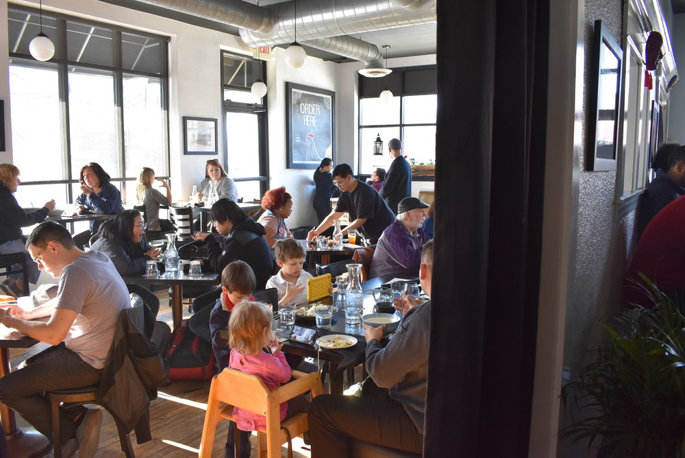 The new ramen restaurant was full and waits were over 20 minutes long for dinner on Thursday night, April 19.  Photo by Cirien Saadeh
