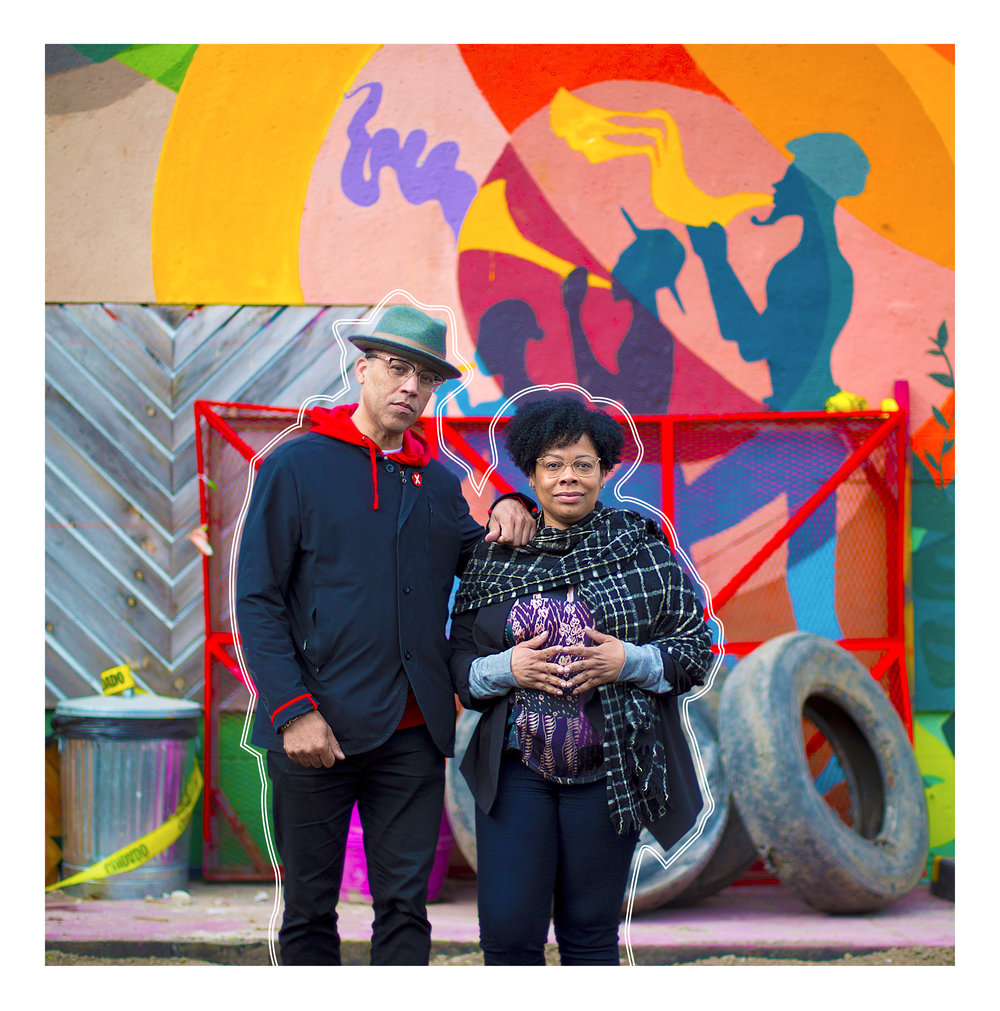 Married couple Roger and DeAnna Cummings, who founded Juxtaposition Arts in 1995, stand on the organization's newly vacant lot at Emerson and Broadway.  Photo by David Pierini; Design by D'Angelo Raymond