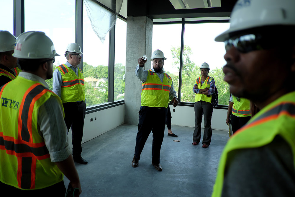 D'Angelos Svenkeson, vice president of THOR development, gave a tour of the company's new headquarters on June 18.