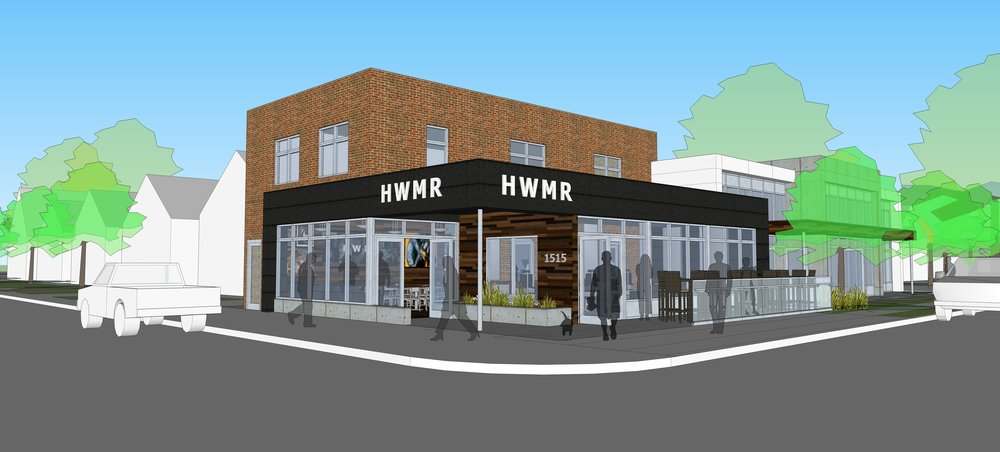 Houston White hopes to expand HWMR down Humboldt Ave, expanding his current offerings and adding a maker space, restaurant, ice cream shop, and beer and wine bar.  Rendering courtesy of Houston White