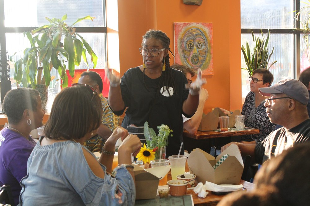Onyx Culinary Collective manager Tene Wells spoke to her pop-up event attendees on Sept. 14.  Photos by Jessica Enwesi