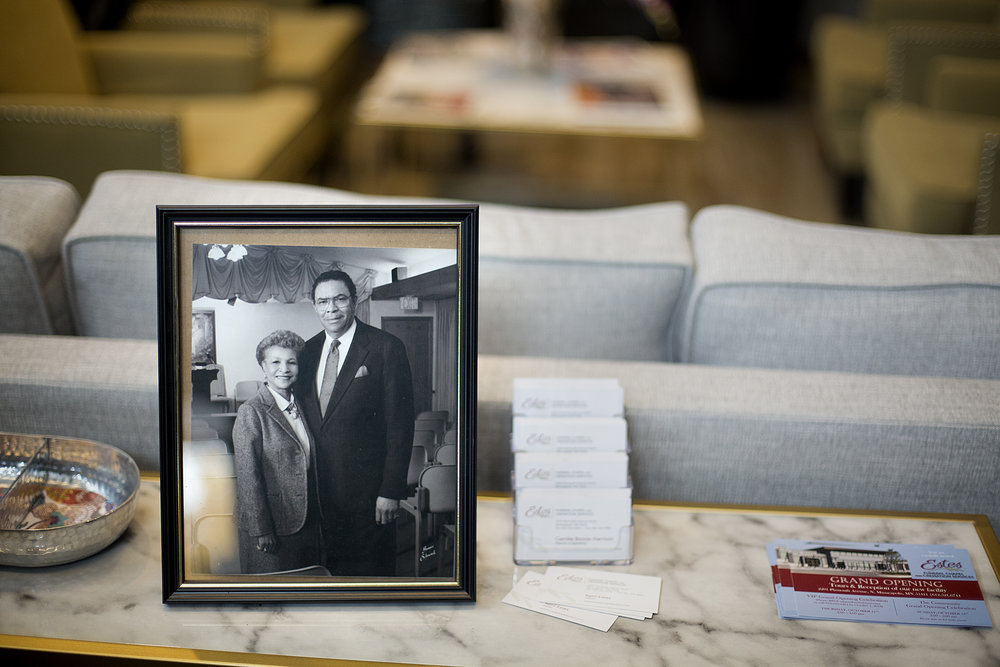 April and Richard Estes stand together in an undated black and white photo that greets people walking into the lobby of the new Estes Funeral Home location.