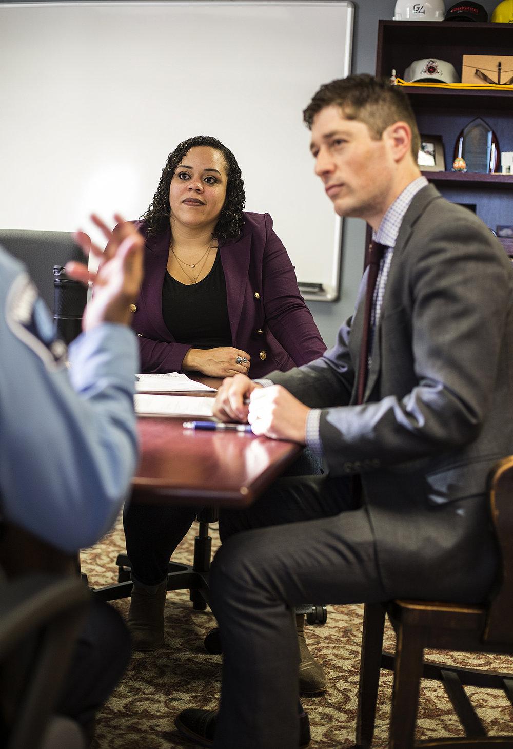 Jen White and her boss, Mayor Jacob Frey, meet with Minneapolis Police Chief Medaria Arradondo.