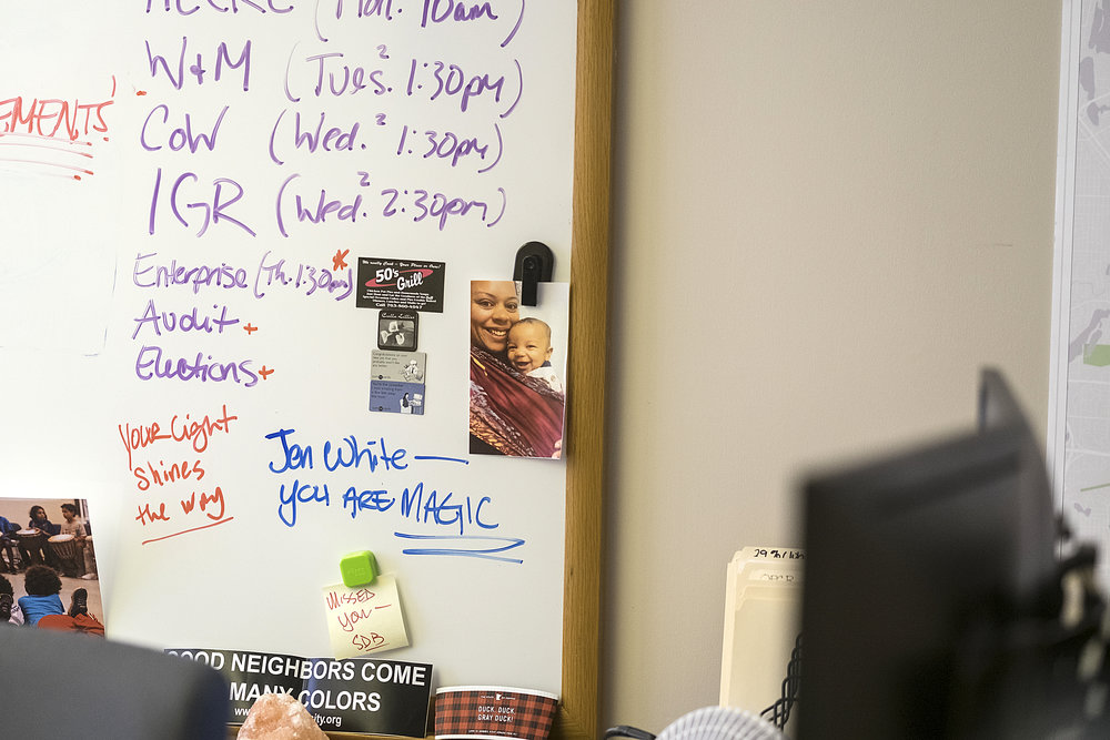 A white board in White's office showcases both her busy schedule and how beloved she is in community.