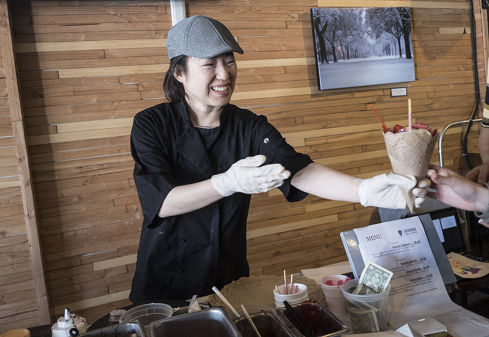 Mia Oi had a pop-up stand inside Corner Coffee in the Camden neighborhood during Saturdays in February and March, ending March 30. to make and serve Japanese-style crepes. Photo by David Pierini