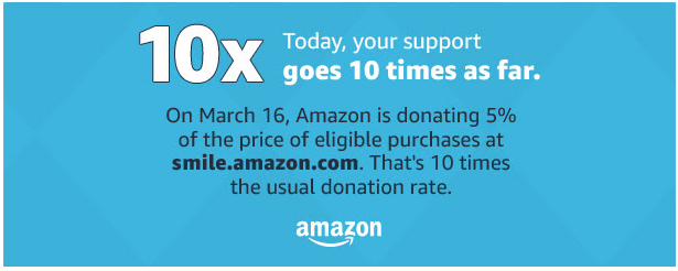 amazon smile march 16