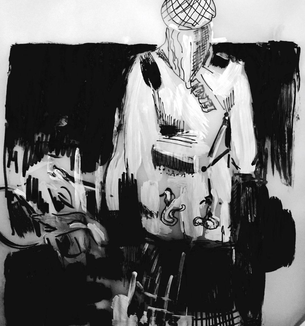 Study in black white and grey , ink and paint 2016
