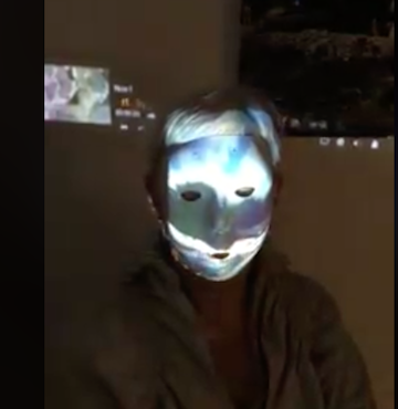 """I created an interactive live film project for the Siger Gallery in London, projecting my film directly onto myself and viewers as I circled the gallery. """" Coney Island Self Portrait"""" @2107"""