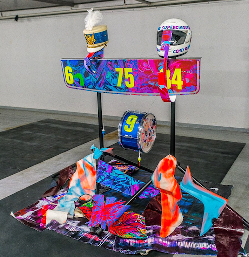 Come to a multi Story car park, with Multi Artists in the Multi verse...THE CRASH..I'll be exhibiting a new installation piece, during Frieze..  Painted Leather, Drums, motorcycle helmet, car parts, paper, majorette helmet, fishing lures…Cavendish Square Gallery