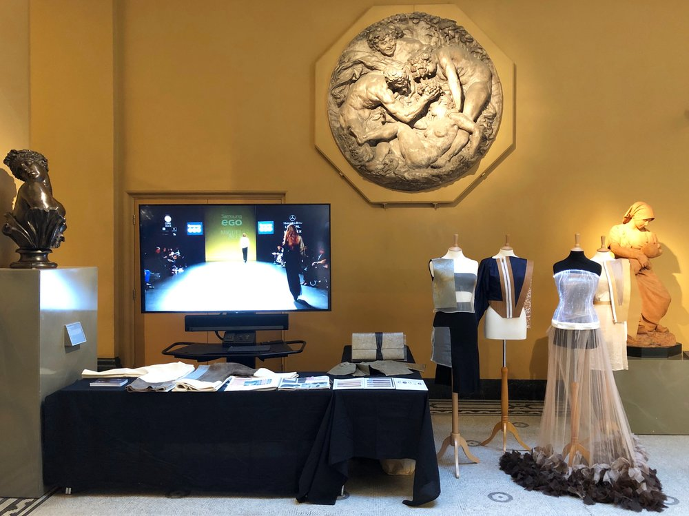 I curated a pop up for the Fashioned by Nature exhibition at the V&A within the galleries. I featured a display of technical fabrics and fashion designs by Miguel Alex.