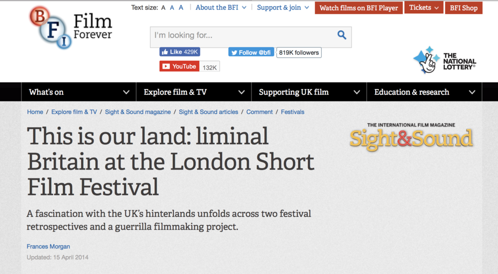 My film was written about in the BFI magazine.
