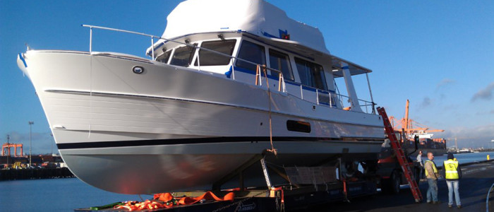 A customer's beautiful new Grand Banks yacht, freshly offloaded.