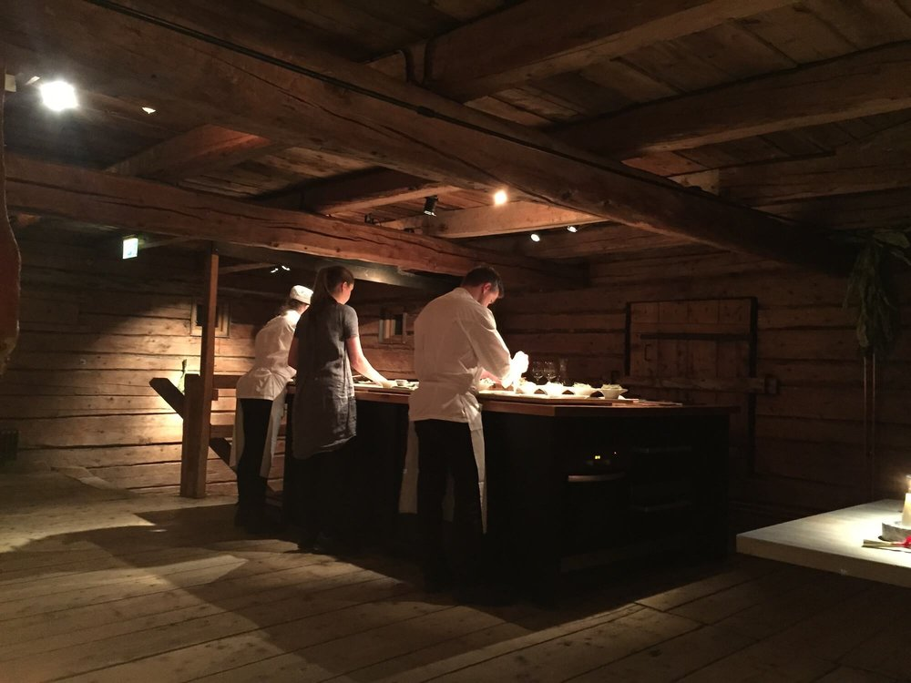 Chefs plating dishes at the New Nordic restaurant Fäviken in Northern Sweden