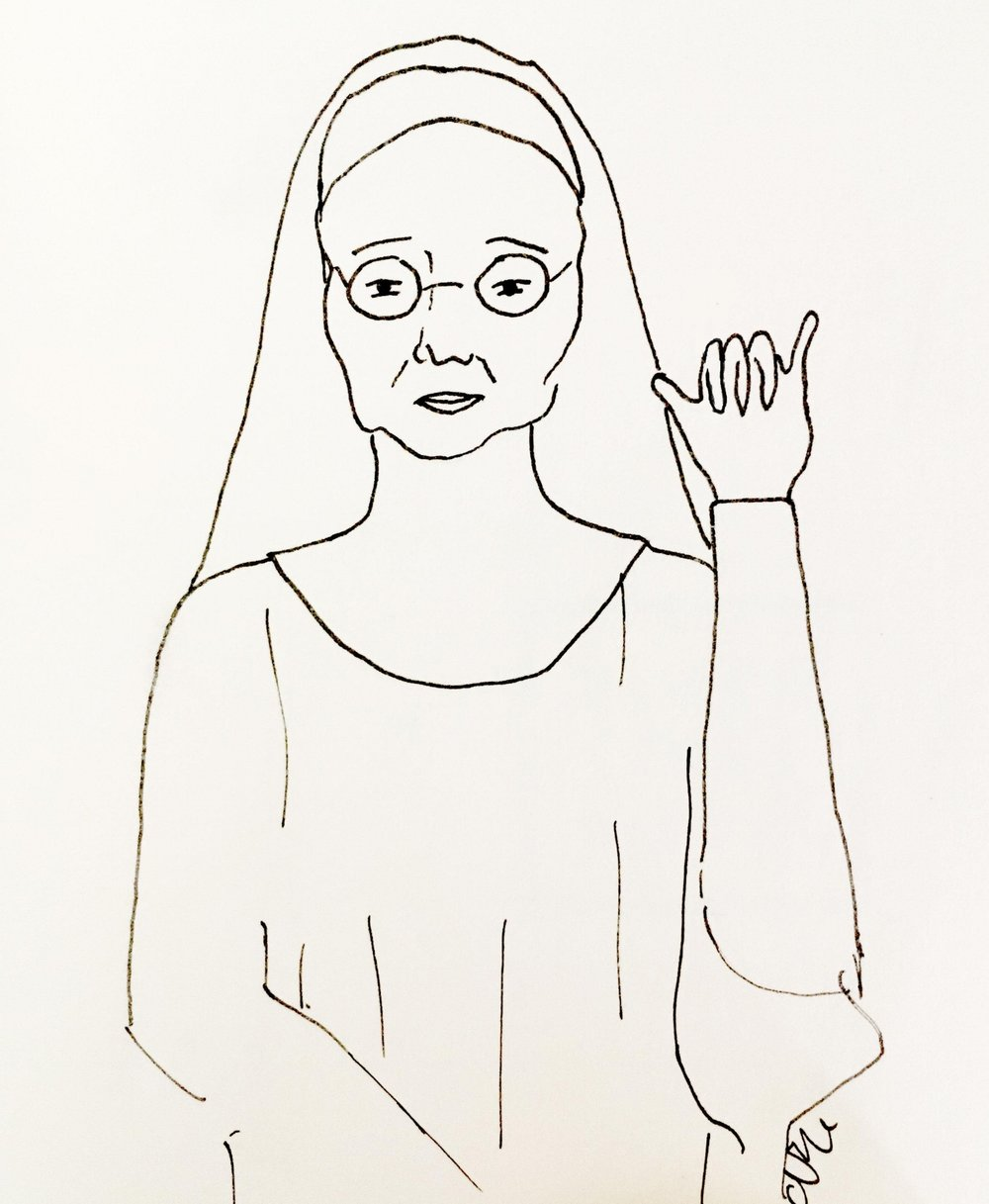 "Illustration by N Marie (the author). What better way to represent ""queering your life"" than a radical nun?"