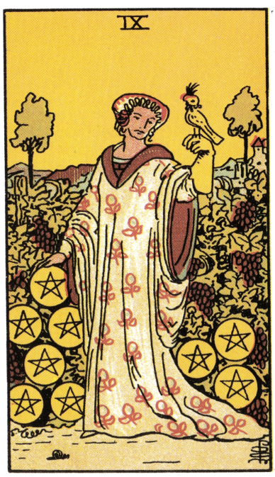 Tarot card, Nine of Pentacles (Illustration by Pamela Coleman Smith)