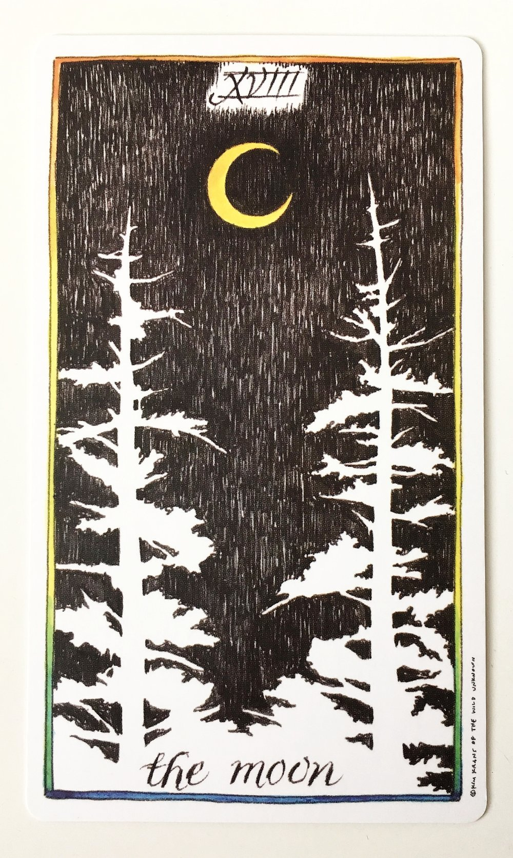 The Moon from The Wild Unknown Tarot Deck, art by Kim Krans.