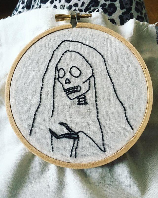 Progress! #santamuerte . . . #embroideryart #acreativedc
