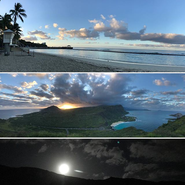 Dawn patrol surf, sunset hike, and exploring under the first supermoon on the first day of the new year. DAYUM, 2018 is already bright AF #nofilter 🙌🏽✨. . . . Happy 2018 friends! Wishing everyone 364 more days of good health, happiness & humor 🎉😊💕 . . #luckytolivehawaii #luckywelivehawaii #happynewyear #happy2018 #explore #dream #discover #surf #hike #stargaze #hookele #sunrise #sunset #moonrise