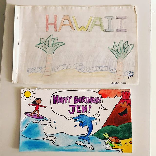 Direct evidence of the power of writing down your goals: . . TOP: My hand-drawn book about Hawaii for a school assignment (w00t A+!). Circa 5th grade(?) . . BOTTOM: Hand-drawn illustration of my current life, a.k.a. two decades later. And Yes, this is completely accurate- Of course i met my best friends in Hawaii in the ocean. 😂 . . I had completely forgotten about making this book and am now even more in awe of the subconscious mind. Many thanks to my parents for keeping my artwork for all of these years and to the talented @stephaniehalligan for this amazing illustration! Been feeling especially homesick for the past two months, and today has been a downpour (literally and figuratively 🌧😭). Looking forward to more love & laughs this next year and practicing extra gratitude for family, friends, and tribe today! 🙏🏽💕